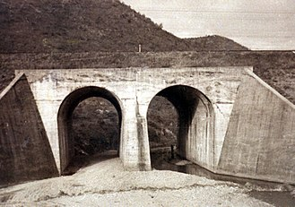No Gun Ri massacre - The twin-underpass railroad bridge at No Gun Ri, South Korea, in 1960. Ten years earlier, members of the U.S. military killed a large number of South Korean refugees under and around the bridge, early in the Korean War.