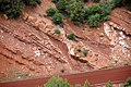 Normal fault in Kayenta Formation redbeds (Upper Triassic-Lower Jurassic), roadcut in Kolob Canyons area, Zion National Park, sw Utah 2 (8423911511).jpg