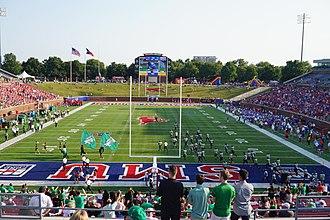 2017 North Texas Mean Green football team - The 2017 North Texas football team taking the field before the game against SMU