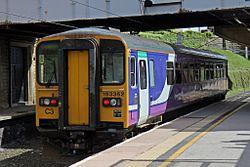 Northern Rail Class 153, 153352, platform 5, Lancaster railway station (geograph 4499685).jpg