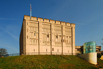 Architecture of England - Norwich Castle: round arches are characteristic of the Romanesque style