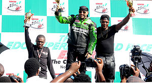 Superbike racing - 2014 Winner of the Nigeria Superbike Road Race, with the first and Second runners ups
