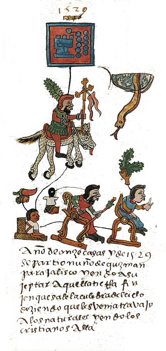 Mesoamerican literature - Conquistador Nuño Beltrán de Guzmán as depicted in the annalCodex Telleriano Remensis