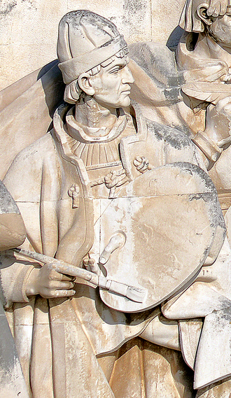 Nuno Gonçalves - Effigy of Nuno Gonçalves in the Monument of the Discoveries, in Lisbon, Portugal
