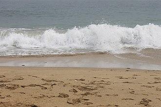 Hancock County, Maine - Ocean waves at Sand Beach in Acadia National Park