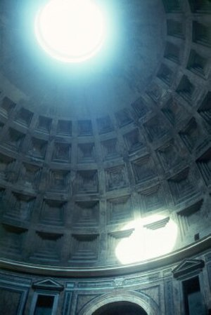 Skylight - Oculus of the Pantheon, an open skylight.