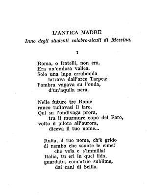 A page from book Odi e Inni di Giovanni Pascoli