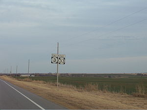 Oklahoma State Highway 3 - SH-3 and SH-33 concurrency between Watonga and Kingfisher.