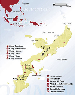 Michael Brown Okinawa assault incident - Map of Okinawa showing the locations of U.S. military installations