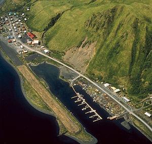 Old Harbor, Alaska - Aerial view of Old Harbor