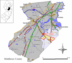 Map of Old Bridge CDP in Middlesex County. Inset: Location of Middlesex County in New Jersey.