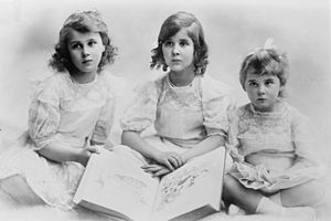 Princess Marina of Greece and Denmark - Princess Marina of Greece and Denmark, right, with her sisters Princess Olga of Greece and Denmark, left, and Princess Elizabeth of Greece and Denmark, center.