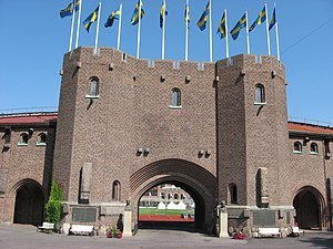 1912 Summer Olympics - The front gate of the Stockholm Olympic Stadium, which was built for the 1912 Games