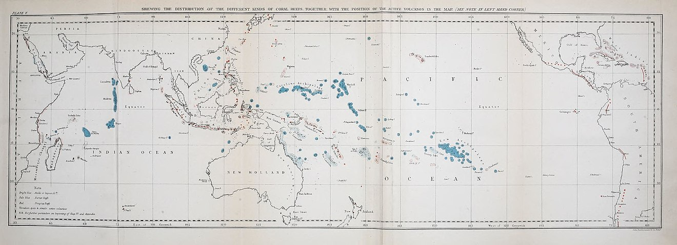 Map from Charles Darwin's 1842 The Structure and Distribution of Coral Reefs showing the world's major groups of atolls and coral reefs. On the structure and distribution of coral reefs BHL40453231.jpg