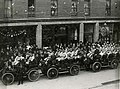 Opening Day 1903, Oakland Commuters leaving the Statehouse Hotel for their first PCL game against Sacramento. (17124238308).jpg