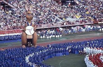 1982 Commonwealth Games - Opening ceremony of the 1982 Commonwealth Games in Brisbane with mascot Matilda winking to the crowd, 30 September 1982