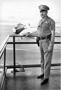 Orange County Airport, security officer, Sept. 1970.jpg