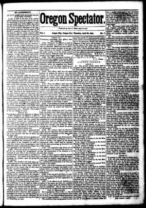 Oregon Spectator - Image: Oregon Spectator April 30, 1846