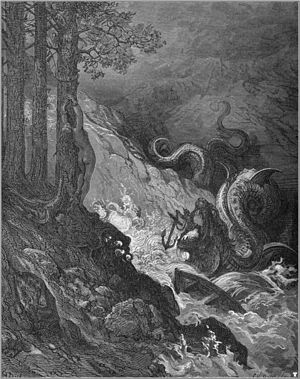 Fantastic art - Gustave Doré's fantastic illustration of Orlando Furioso: defeating a sea monster