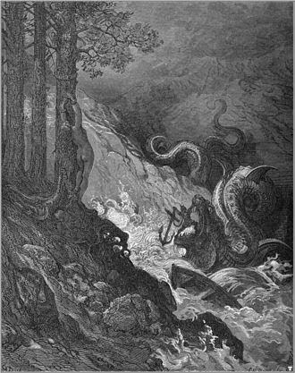 Fantastic art - Gustave Doré's fantastic illustration of Orlando Furioso: defeating a sea monster