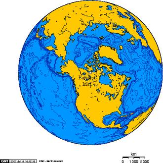 Bathurst Inlet - Orthographic projection over Bathurst Inlet, Nunavut.