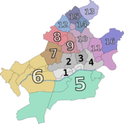 The 16 Ortsbezirke (area districts) of Frankfurt