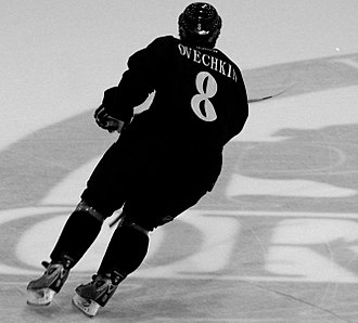 Alexander Ovechkin - Ovechkin at the Washington Capitals training camp prior to the 2005–06 season. He finished first in points and goals amongst rookies in the NHL that season.