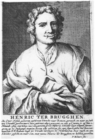 Hendrick ter Brugghen - Pieter Bodart's Portrait of Henric Ter Brugghen (1708), engraving after a lost drawing by Gerard Hoet, 15.8 x 10.6 cm