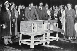 Sawing a woman in half - Magician P. T. Selbit performing a version of the trick in 1937