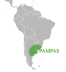 Map of South American, with the  pampas encompassing a south-eastern area bordering the Atlantic ocean.