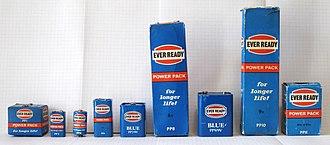 Nine-volt battery - PP (Power Pack) battery series from left to right: PP1, PP3, PP4, PP6, PP7, PP8, PP9, PP10, PP11.