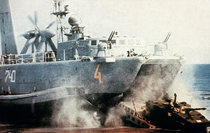 PT-76 moves down the ramp of a soviet hovercraft.JPEG