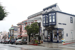 Pacific Grove, California - The main shopping area in Pacific Grove featuring old Victorian style buildings