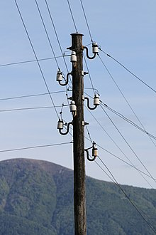 utility pole wikipedia rh en wikipedia org Electrical Outlet Wiring Diagram Residential Electrical Wiring Diagrams