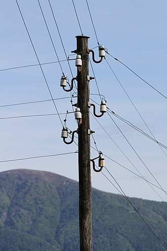 Utility pole - Head of a 400 V pole in Switzerland. In Europe, insulators usually were attached directly at the pole.