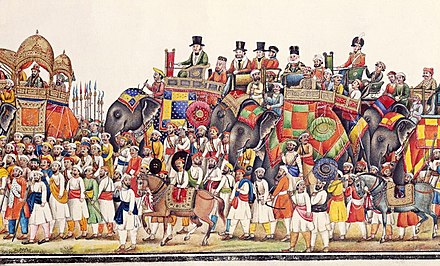 Panorama of a durbar procession of Mughal Emperor Akbar II, 1806-37. The Emperor is followed by the British Resident. Panorama of a durbar procession of Akbar II (Retouched).jpg