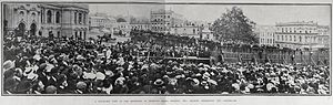Dave Gallaher - The civic reception in Auckland following the side's arrival back in New Zealand. The Prime Minister Richard Seddon is standing on the dais addressing the crowd.
