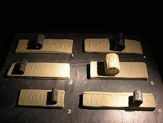 Cylinder seal - Size comparison of seals, with their impression strips (modern/current impressions)