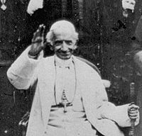 Pope Leo XIII author of Humanum Genus, which reiterated the ban on Catholics becoming Freemasons