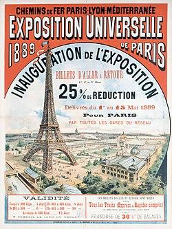 Plakat zur Eröffnung der Weltausstellung 1889