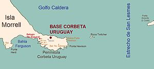 Corbeta Uruguay base - Spanish-language map