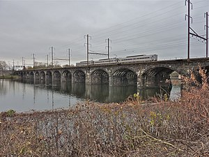 Morrisville–Trenton Railroad Bridge - SEPTA train crossing Delaware River