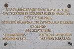 Pest-Szolnok railway line plaque, Ószolnok railway station, 2017 Szolnok.jpg