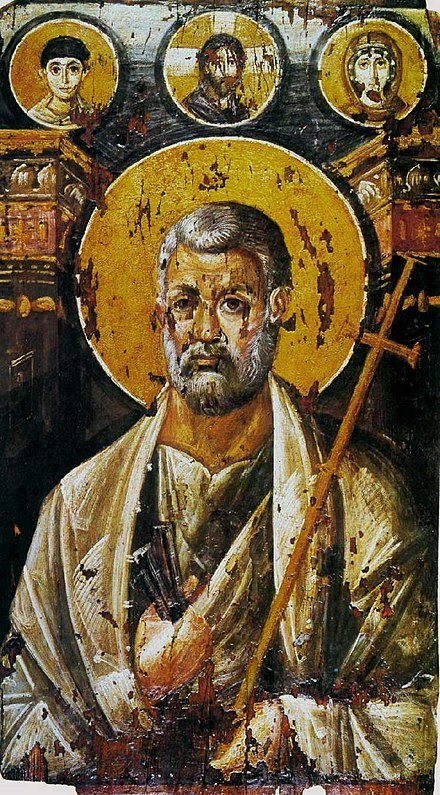 St Peter encaustic on panel, c. 6th century (Saint Catherine's Monastery). Petersinai.jpg