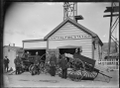 Petone fire station, with engine and firemen, ca 1900. ATLIB 272549.png