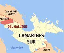 Map of Camarines Sur showing the location of Del Gallego