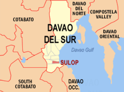 Map of Davao del Sur with Sulop highlighted