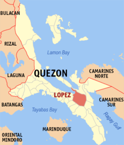Map of Quezon showing the location of Lopez