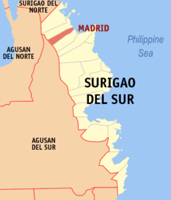 Map of Surigao del Sur with Madrid highlighted