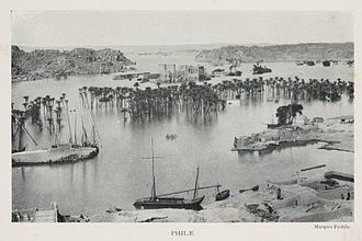 Philae - Philae flooded by the Aswan Low Dam in 1906.